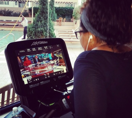 Oprah working out at Houston hotel September 2014