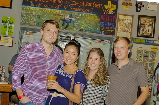 10 Samuel Belmar, from left, My Tran, Taylor Higgins and Hutton Hinson at the Bear Bryant Awards young professionals party October 2014