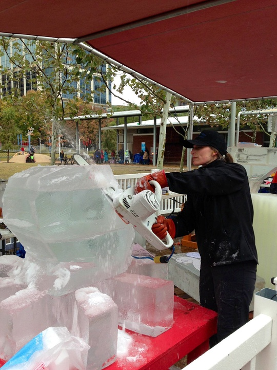 2, Discovery Green, Magnificent 7 Ice Carving Competition, January 2013, Heather Brice is here from Alaska