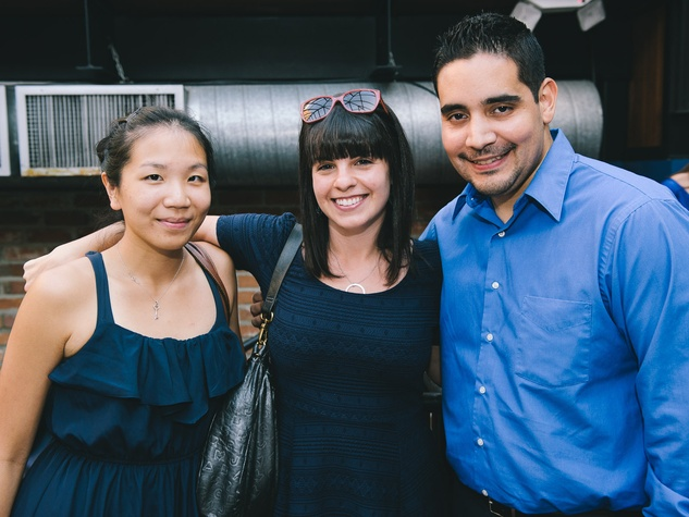 Evin Tsai, from left, Tracy Jacobson and Samuel Moreno at the Houston Symphony Young Professionals Backstage kick-off party