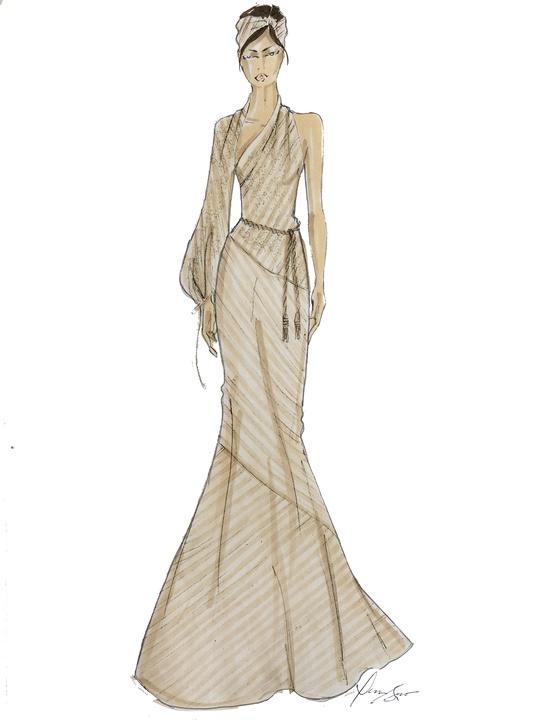 Dennis Basso designer inspiration sketch spring 2018