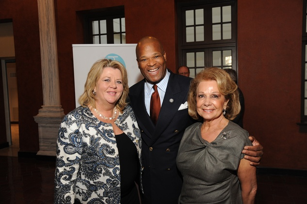10 5698 Brenda Stardig, from left, Dwight Boykins and Philamena Baird at the Port of Houston library exhibition celebration September 2014