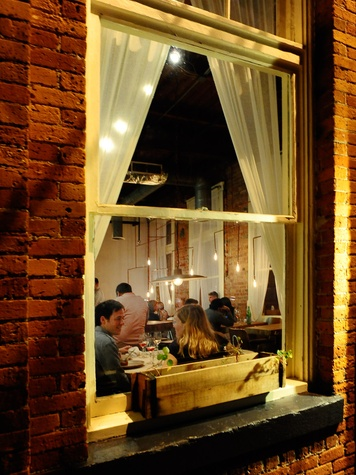 Oxheart Restaurant window diners planter box
