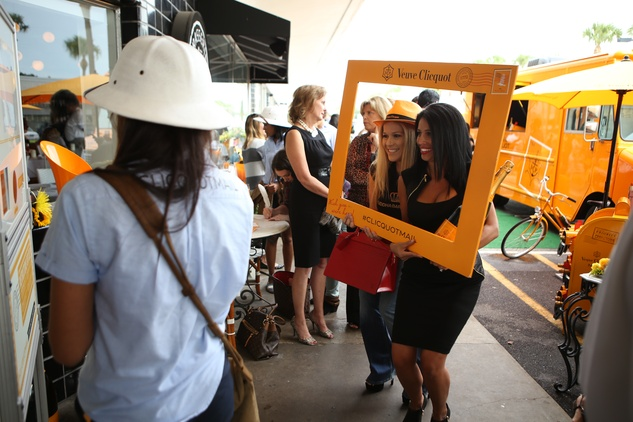 Jenny Pallais, left, and Juanita Leon at Veuve Clicquot at Brasserie 19