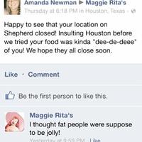 Maggie Rita's Facebook fat insult