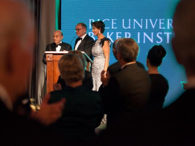 Hushang Ansary, from left, Ed Djerejian and  Shahla Ansary at the Baker Institute 20th Anniversary Gala November 2013