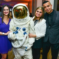 Chad Pitt and Lauren, Astronaut, CBS Radio's Liz Arreola and Victor Guajardo at the Young Professionals Backstage party January 2014