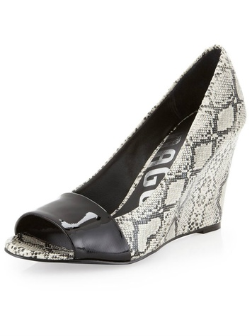 last call snakeskin wedge