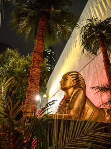 Aida decor sphinx at the Houston Grand Opera Opening Night celebration October 2013
