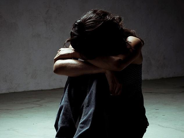Depressed girl partial silhouette