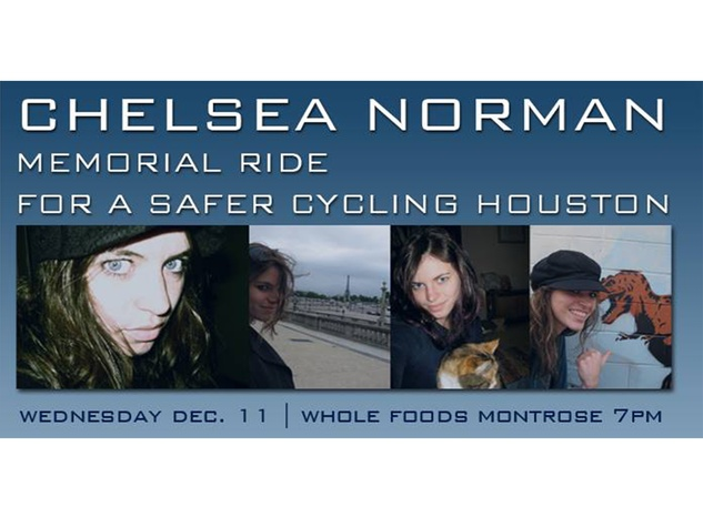 Chelsea Norman memorial bike ride poster December 2013 WITHOUT RIBBON