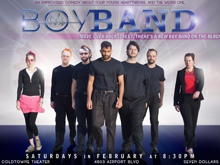 poster for Boy Band, an improvised comedy at Coldtowne Theater