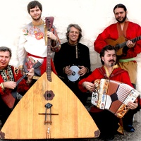 members of the Russian, Slavic band the Flying Balalaika Brothers