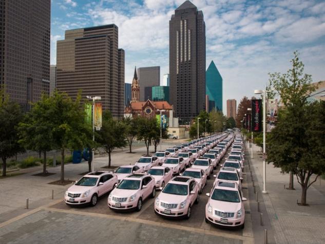 Mary Kay pink Cadillacs in downtown Dallas