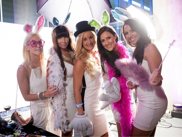 Katherine Mangum, Claire Morgan, Callie Ford, Sara Newell, Clarissa Cardenas, white party