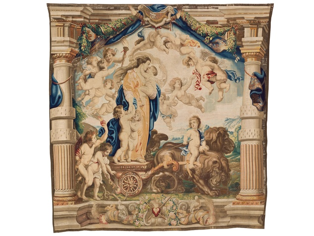 Woven by Jan Raes I, Hans Vervoert, and Jacob Vervoert after designs by Peter Paul Rubens, The Triumph of Divine Love, c. 1625–33, wool and silk, Patrimonio Nacional, Madrid, Monasterio de las Descalzas Reales.