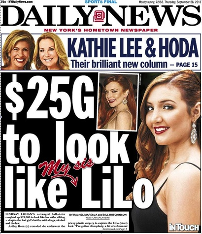 New York Daily News cover of Franklin Rose surgery of Lindsay Lohan sister