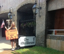 Michelle Charkowicz striking outside Old Warsaw