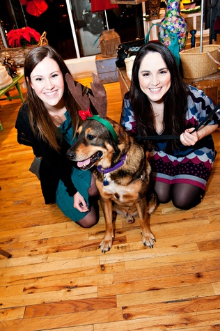 Friends for Life holiday party, December 2012, Mary Burtner, Meredith Wierick, Sammy (dog)