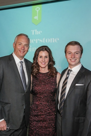 Bobby and Phoebe Tudor, left, with Harry Tudor at the Cornerstone Dinner February 2015