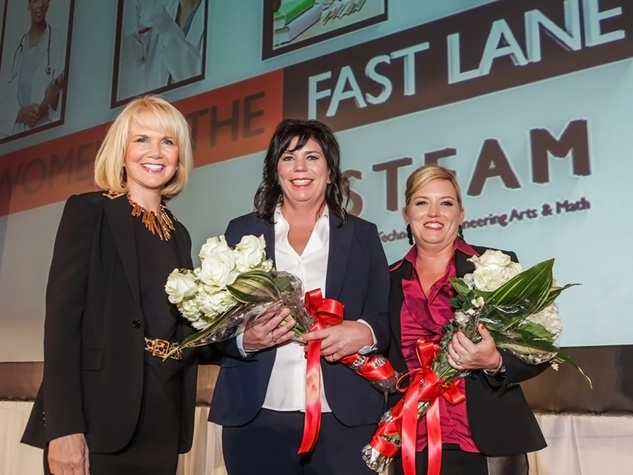 2431 Suzan Deison, from left, Molly McGuirk and Kristi Hotze at the Women in the Fast Lane of STEAM Luncheon September 2014