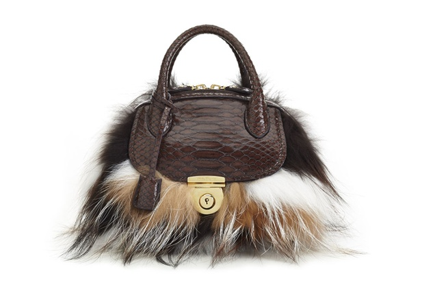 Ferragamo Fiamma handbag in two-tone fox fur