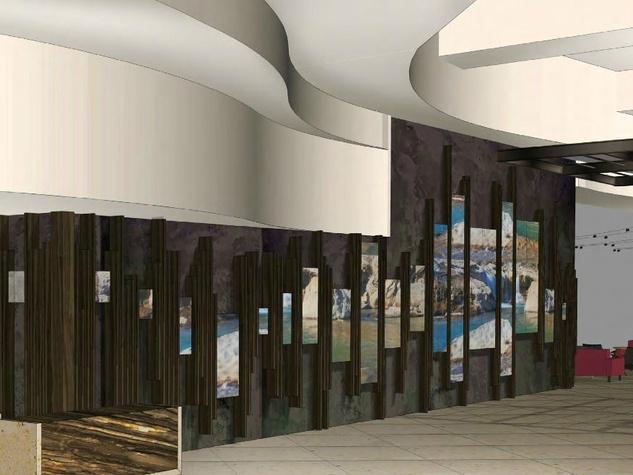 Hilton Austin downtown hotel 2016 renovation rendering lobby digital art wall