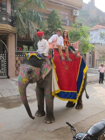 Mark and Mackenzie Moussa on elephant