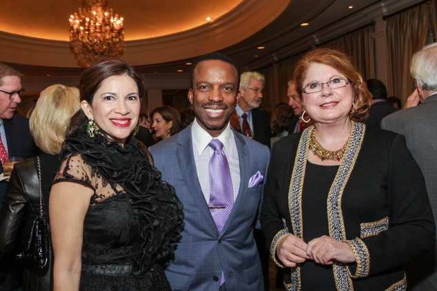 Alex and Astley Blair, from left, with Joni Baird at the Center for Houston's Future dinner November 2014