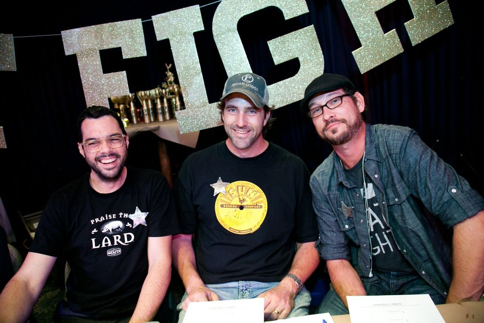Aaron Franklin, Justin Fourton and Nick Pencis at Meat Fight in Dallas