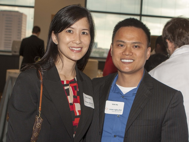 Helen Dang (Asian American Bar Association) and Vinh Ho (Boat People SOS) at Human Rights First office launch