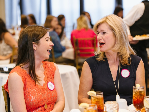 Megan Smalley, Sherry Lowe, polish luncheon
