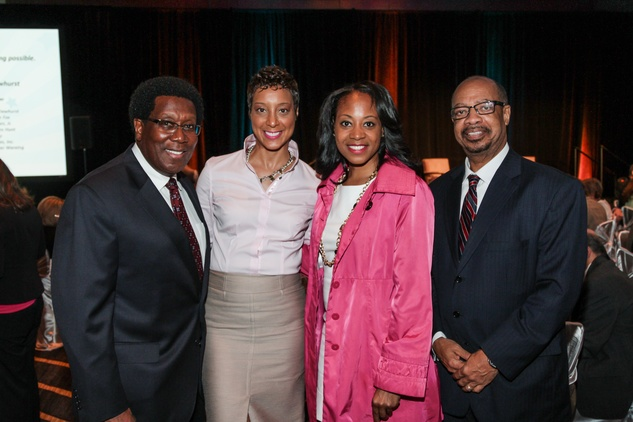 John Knight, from left, Stephanie Kirby, Takiyah Roberts and Dr. John Rudley at the College of Biblical Studies Rising Star Dinner May 2014