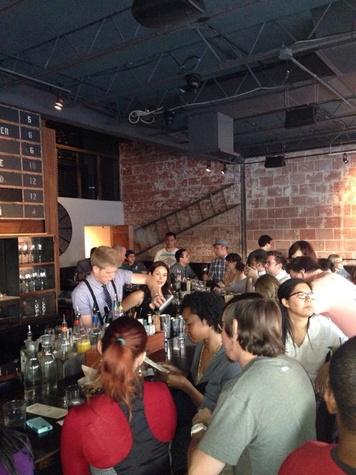 Anvil Bar & Refuge Stuart Humphries bartender with crowd November 2013