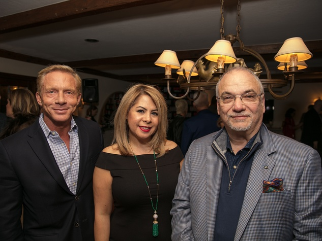 Doug Harris, Esme Perez, Scott Brogan at Big Game Party