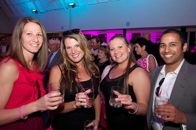 Komen pink party Jenn Dermanci, Katie Boeckman, Heidi Olson, Navin Jagannath