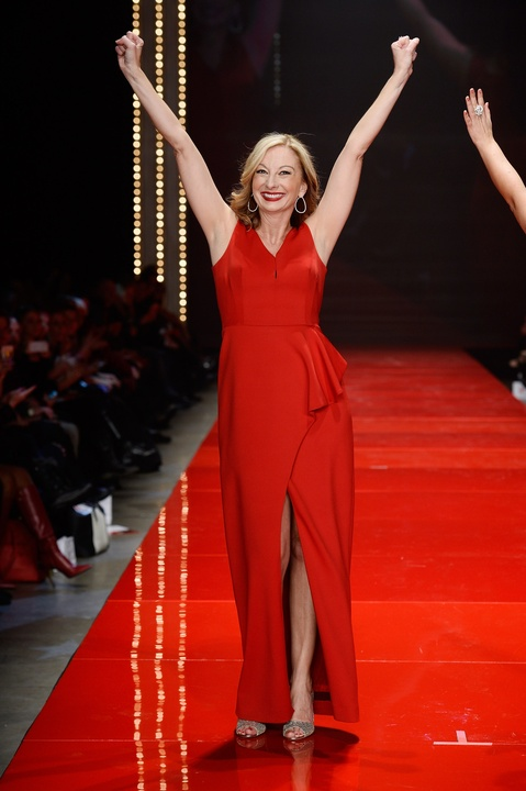 Nicole Hardy walks the runway at the American Heart Association's Go Red For Women Red Dress Collection 2017