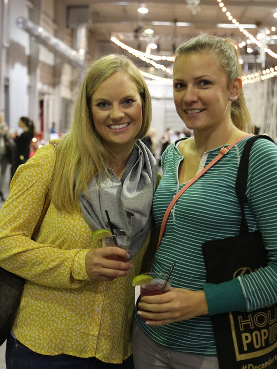 Meredith Creger, left, and Nicole Hopkins at the CultureMap Pop-Up Shop December 2014