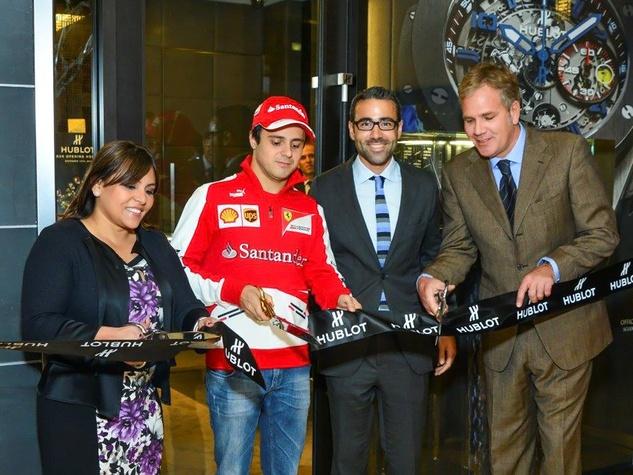 13 Isabel Sorum, Felipe Massa, Jean-Froncouis Sberro, CFO HUBLOT, Giancarlo Orlando, VP of HUBLOT Joint Venture