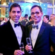 Christian Alvarado, left, and Jose Marquez at Bering Omega's Sing for Hope after-party