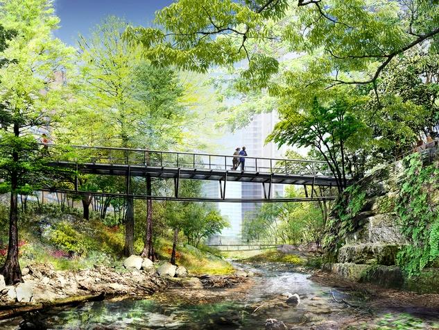 Waller Creek Plans Delta Lattice Bridge