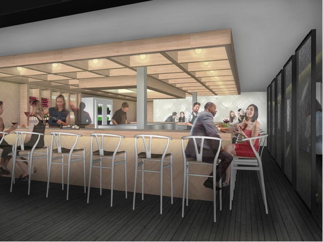 Counter 3 Five VII Restaurant Austin rendering