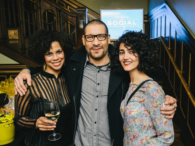 17 Jasmine Richardson, from left, DJ Sun and Asol Shokati at the CultureMap Social at La Colombe d'Or February 2014