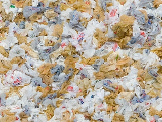 Plastic bags in a pile