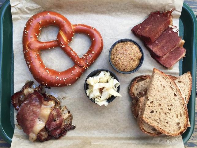 Easy Tiger pretzel meat board