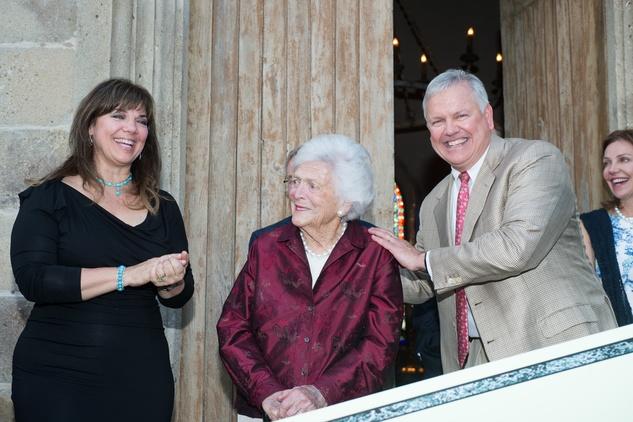 Terri Havens, from left, Barbara Bush and John Havens at the Celebration of Reading kick-off April 2014