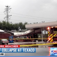 gas station food mart roof collapses during heavy rains April 2013 khou