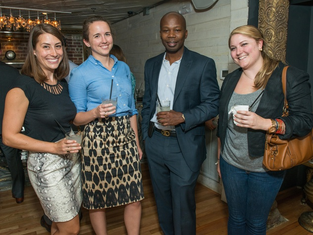 23 Bridget Barrow, from left, Colleen Nash, Sherwin Brandford and Lindsay Mays at the CultureMap Summer Social July 2014