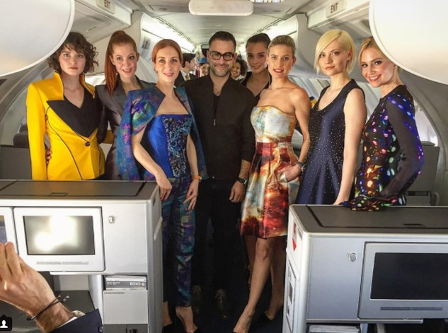 Rubin Singer fashion show on airplane