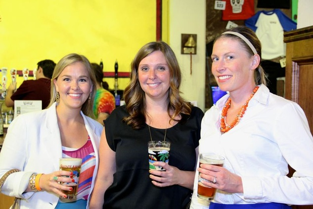 12 Katy Schawe, from left, Traci Burke and Valerie Vogler at the Houston Area Women's Center Young Leaders Independence Day Bash July 2014